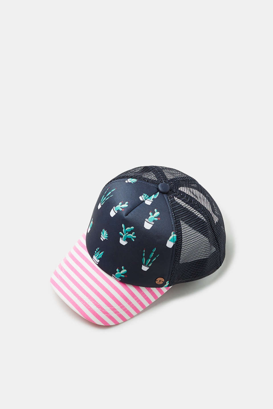 edc - Trucker cap with a cacti print and stripes