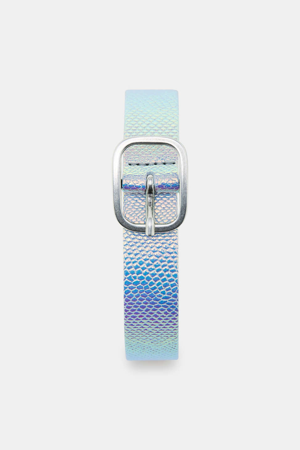 This leather belt in a metallic look shimmers with an iridescent effect in all the colours of the rainbow.