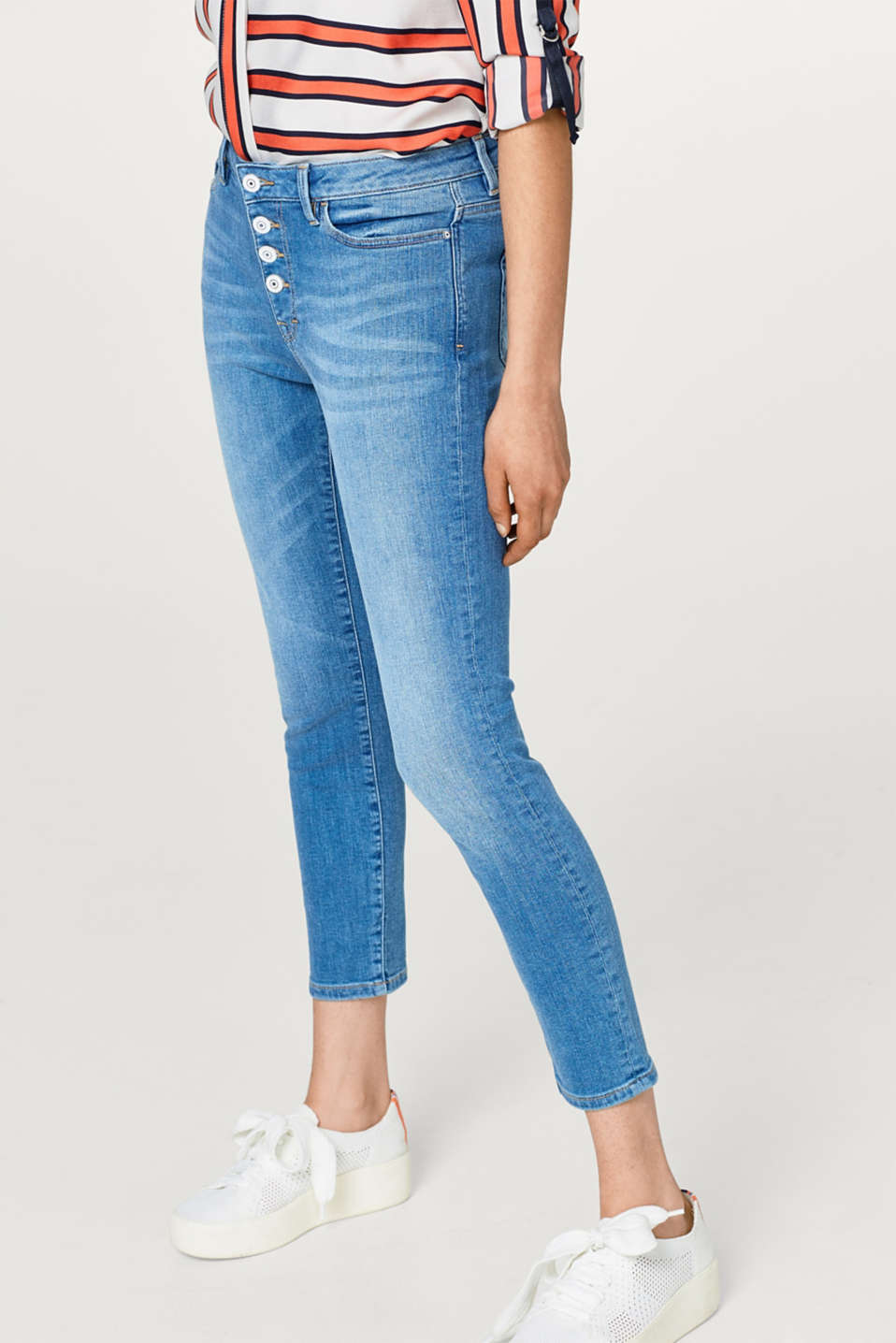 edc - Button fly cropped stretch jeans