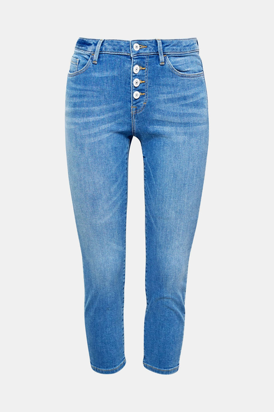 The striking washed-out finish, visible button fly and summery 7/8 length round off the extraordinary look of these stretchy jeans.