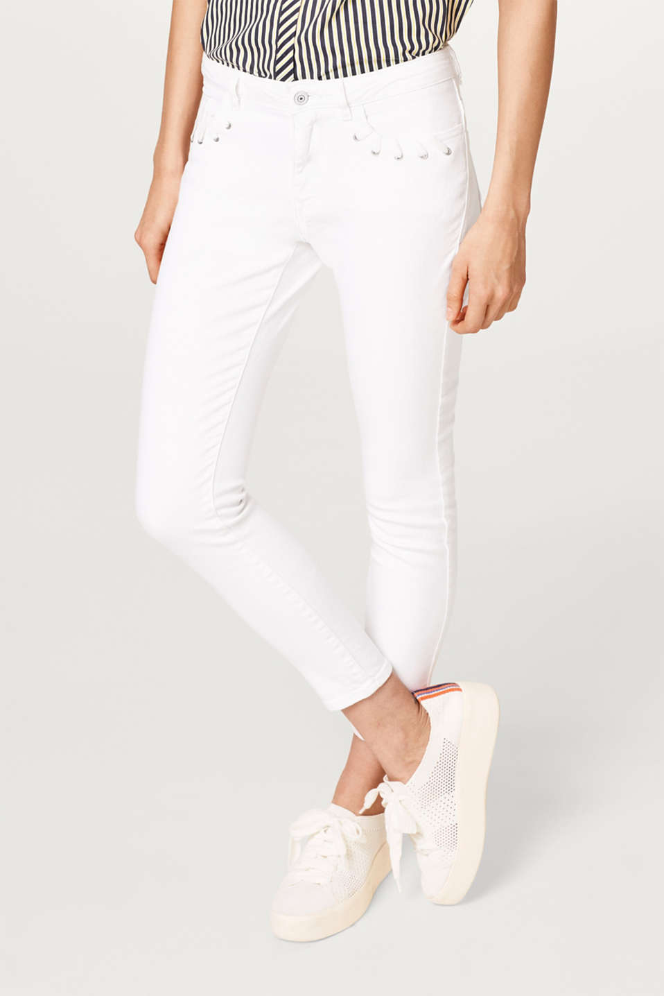 edc - Stretch cotton ankle-length trousers