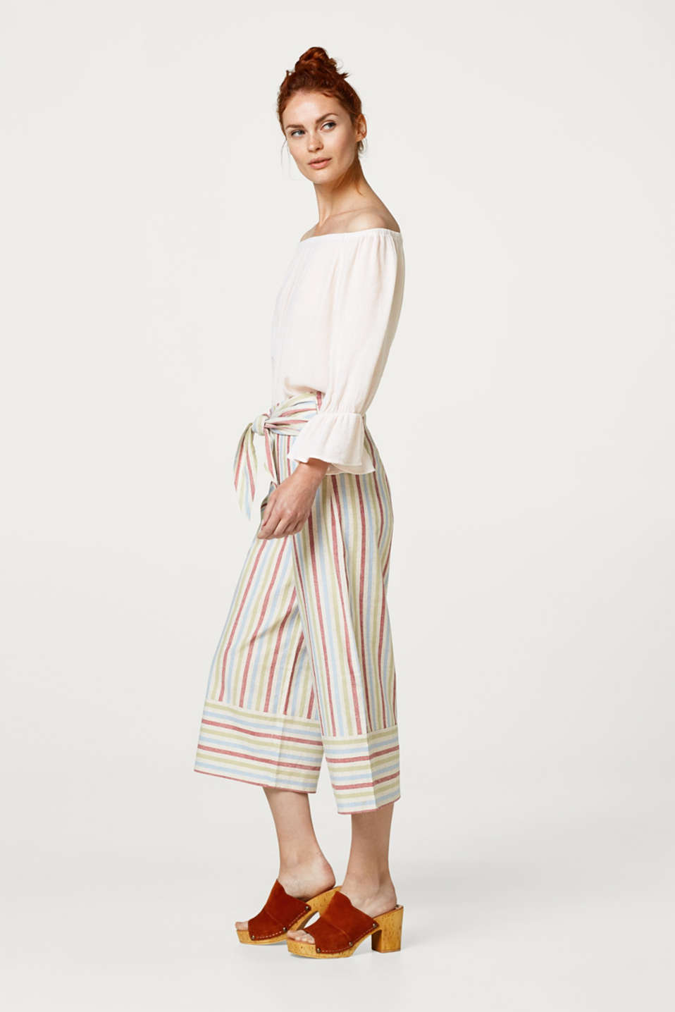 edc - Linen blend striped culottes with ties