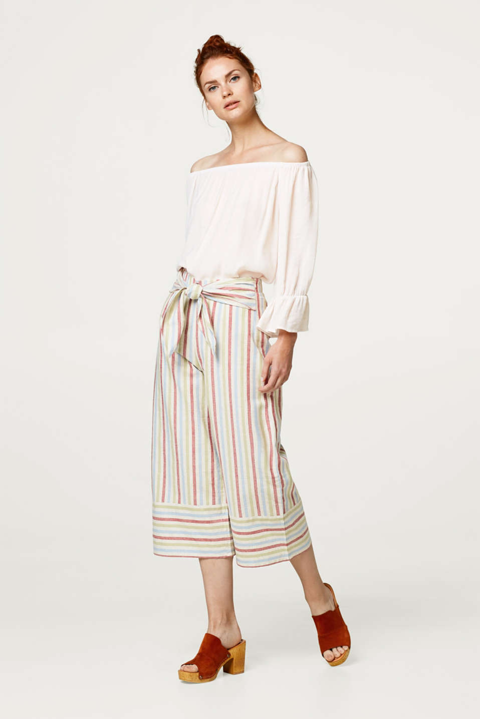 Linen blend striped culottes with ties