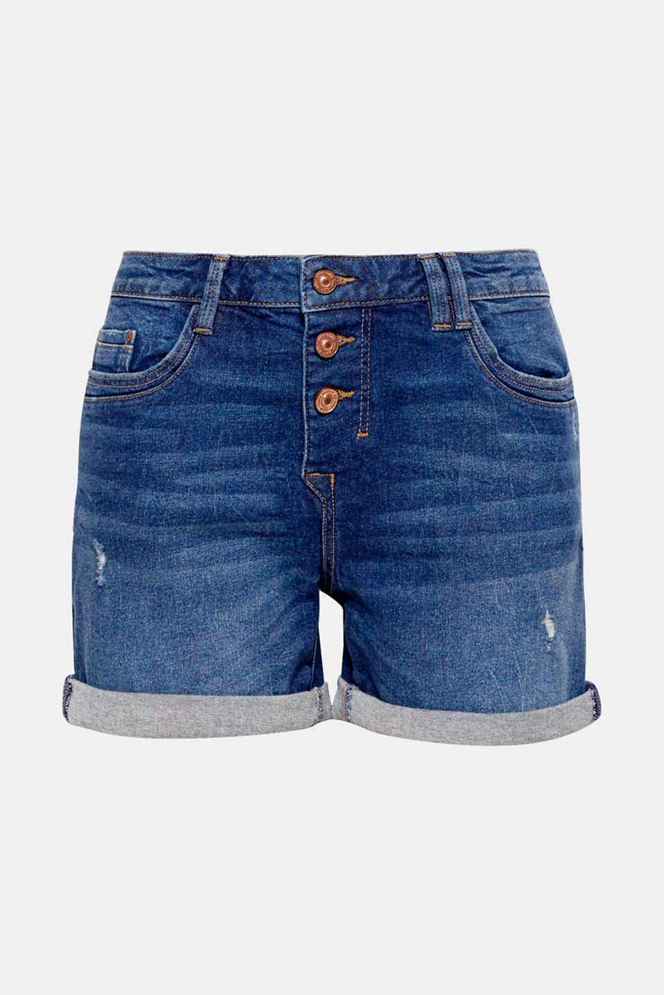 Your summer must-have: denim shorts in a vintage look with a button placket and flexible roll-up hems.