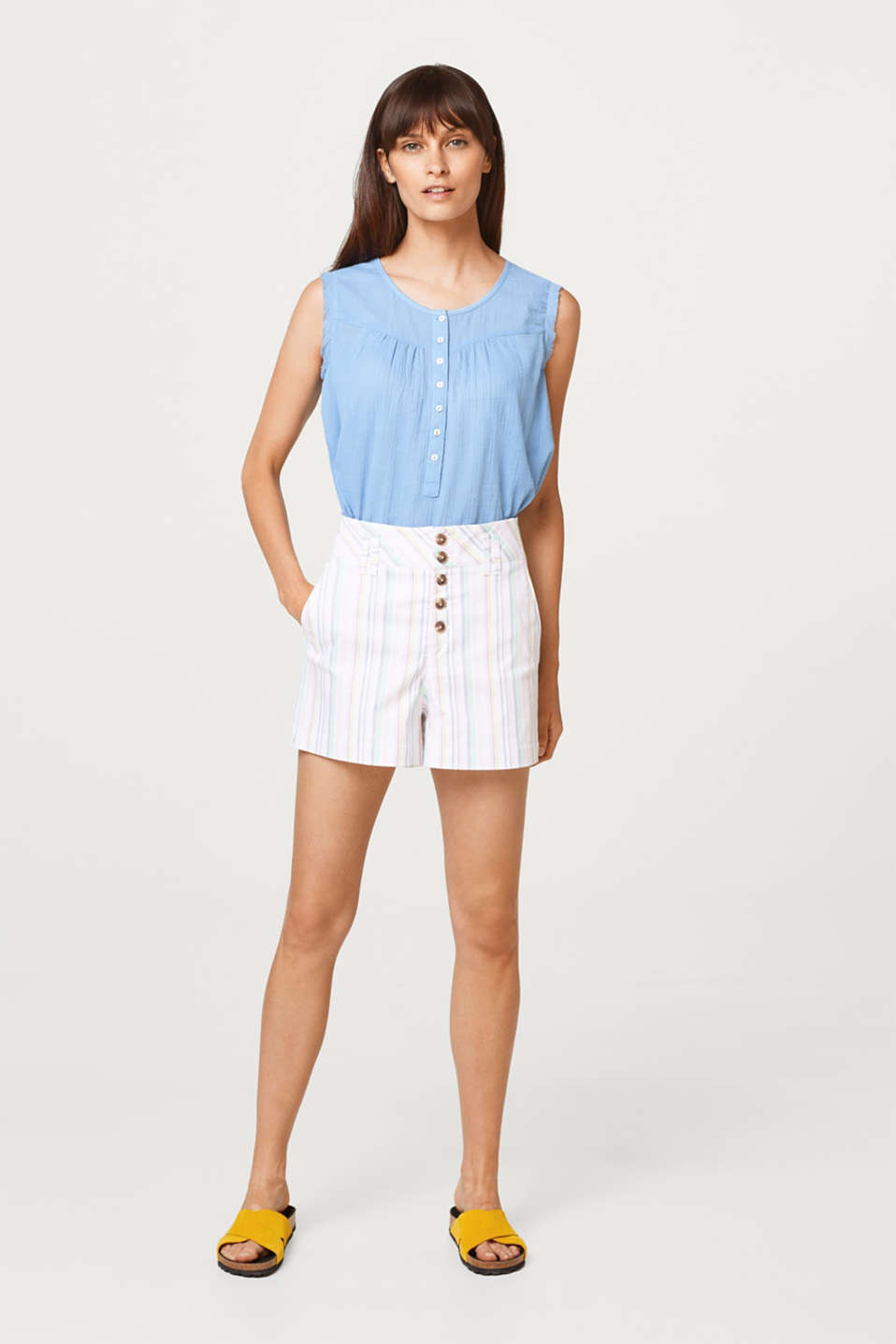 Twill shorts with stripes and a button placket