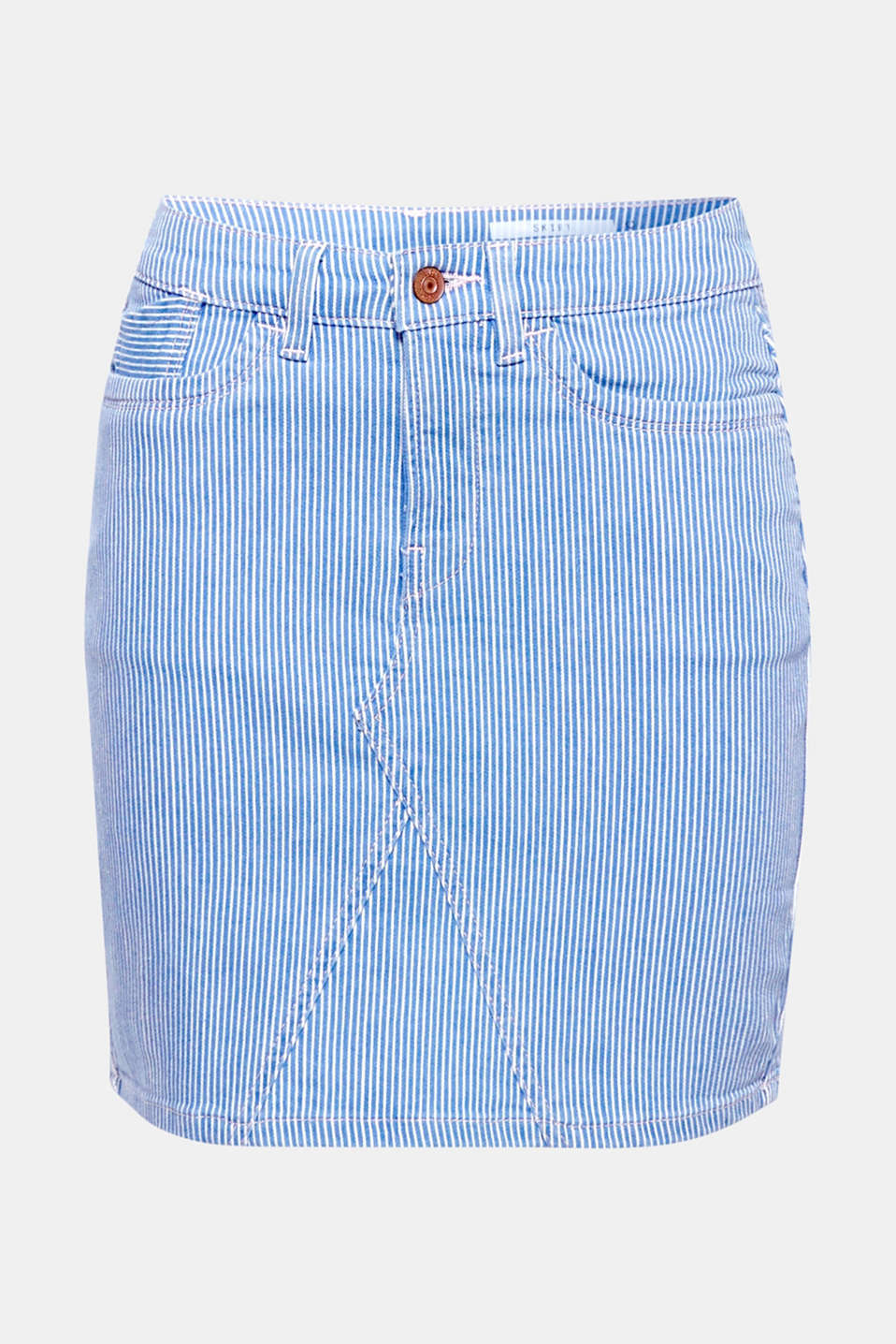 Trendy, fresh stripes and the tight, close-fitting silhouette make this denim skirt a must-have for the summer.