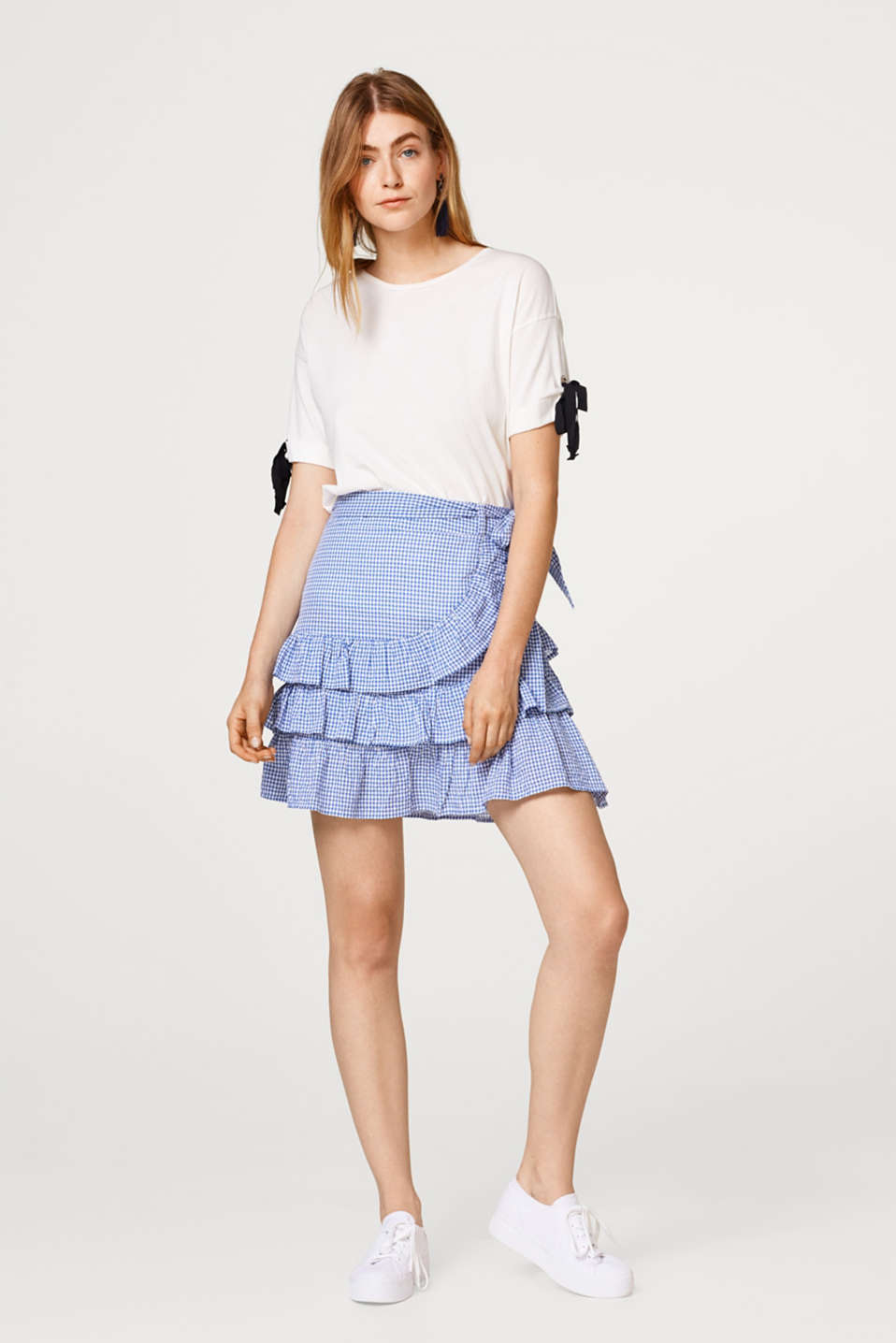 edc - Flounce skirt with a gingham check in organic cotton