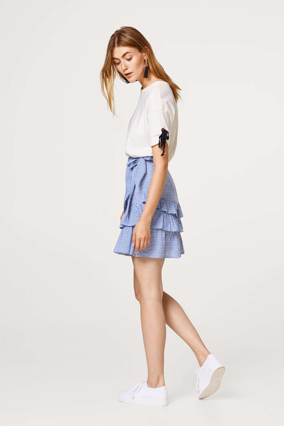 Flounce skirt with a gingham check in organic cotton