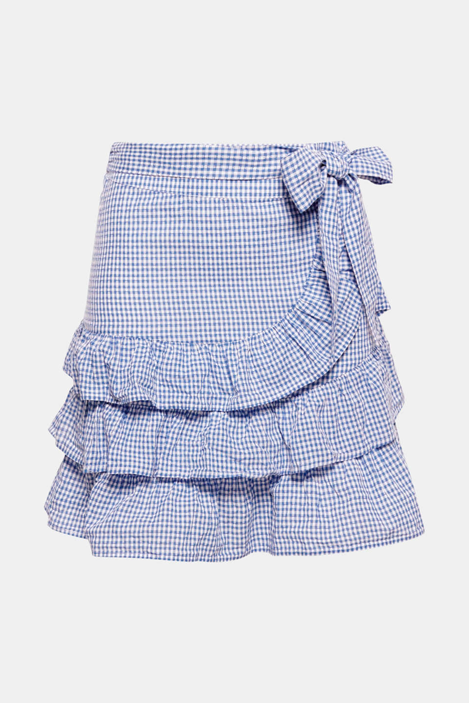 Particularly premium, sustainable organic cotton, fresh gingham pattern and pretty flounces make this skirt a perfect summer piece.