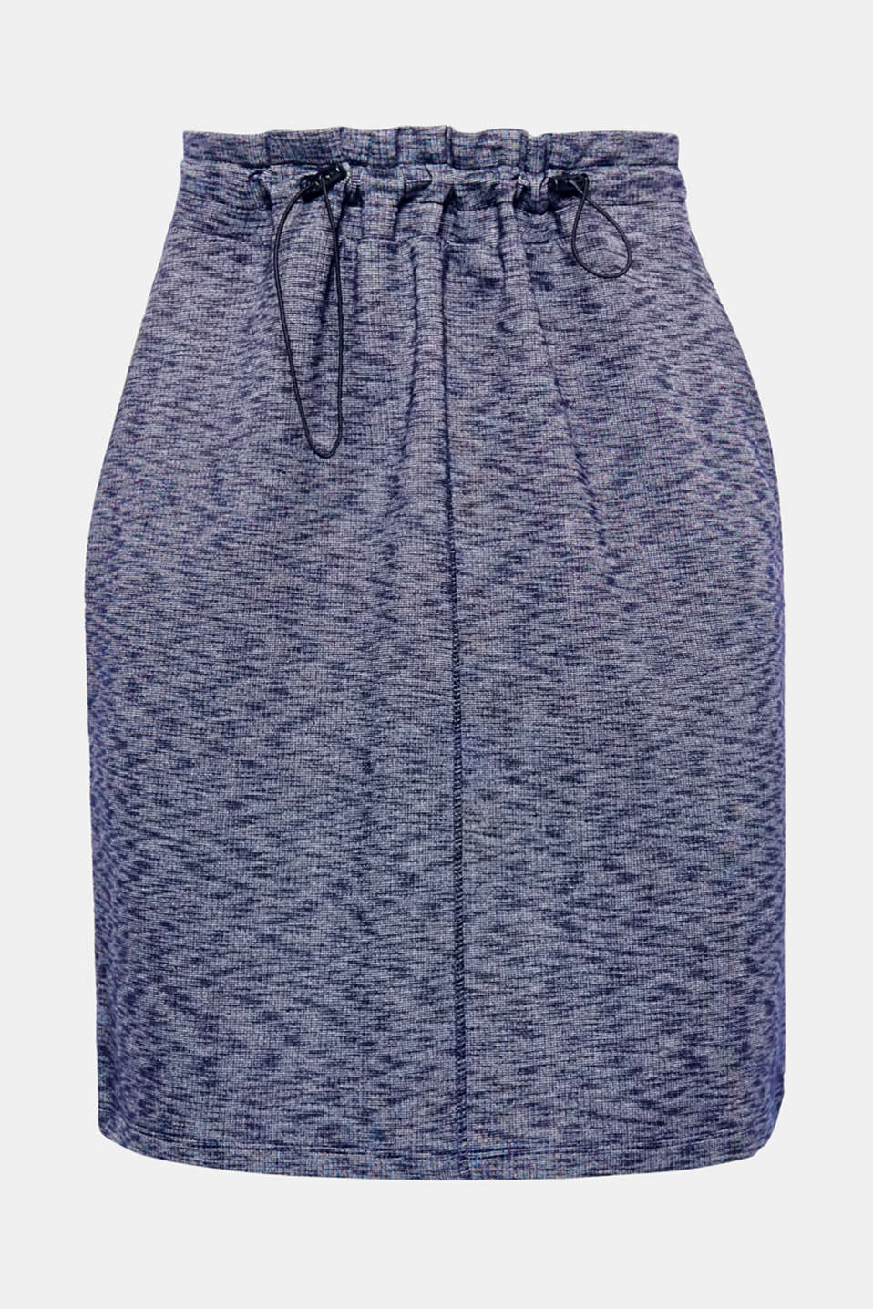 A great essential: this soft sweatshirt skirt is defined by its exceptional comfort, sporty details and two-tone melange finish.