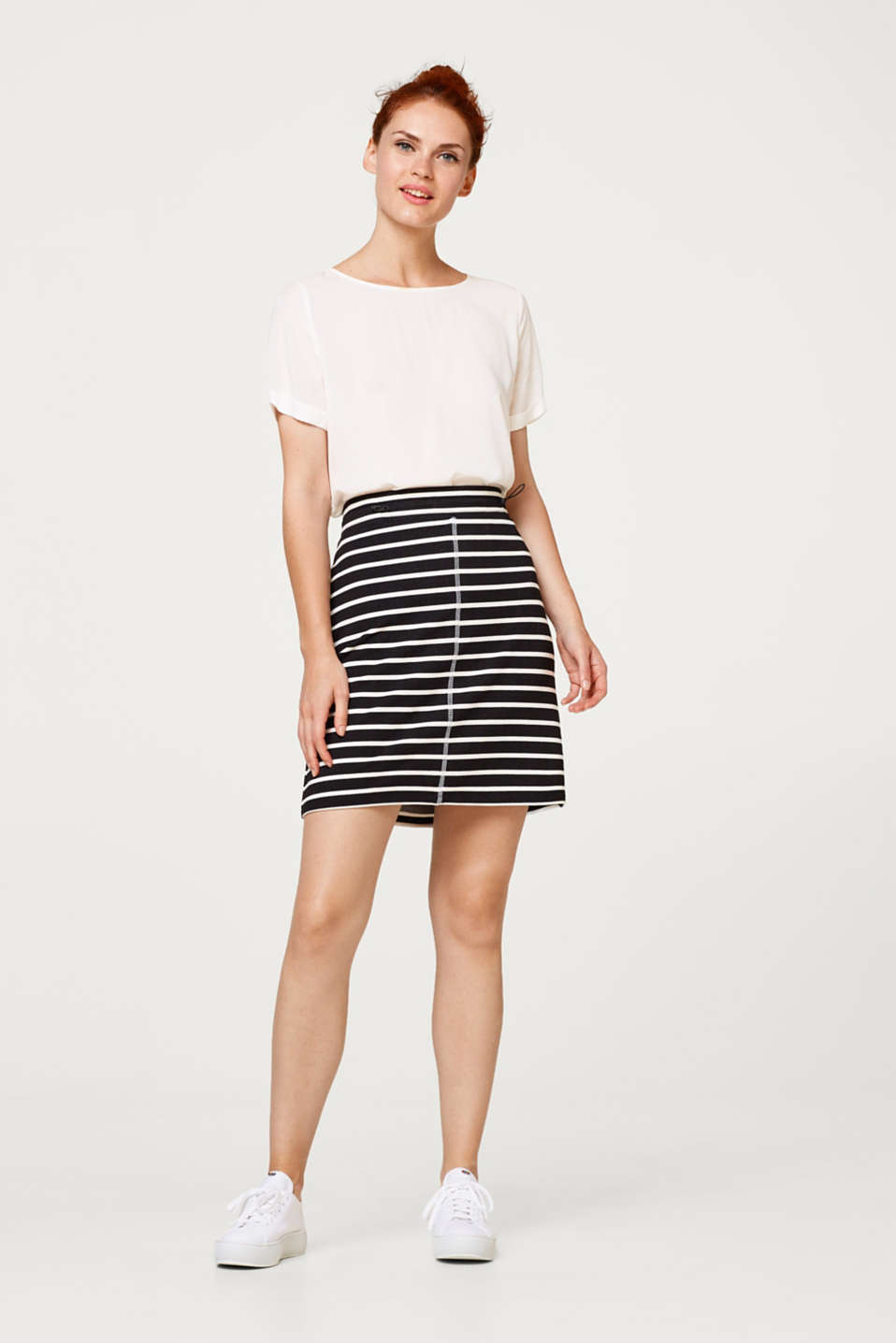 edc - Comfortable sweatshirt skirt in a striped look