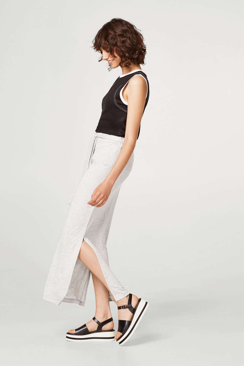 Slit maxi skirt in melange jersey