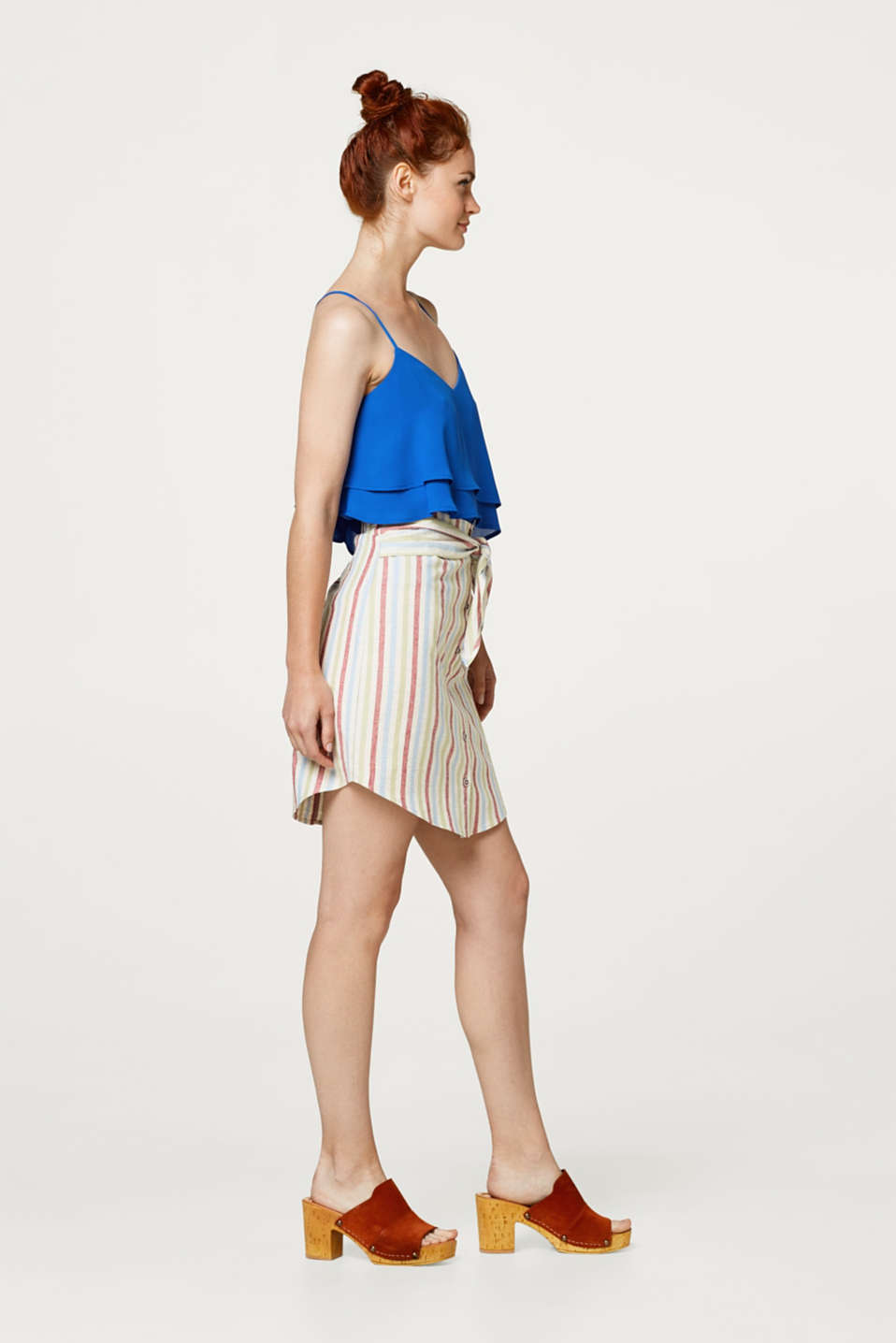 edc - Blended linen striped skirt with ties