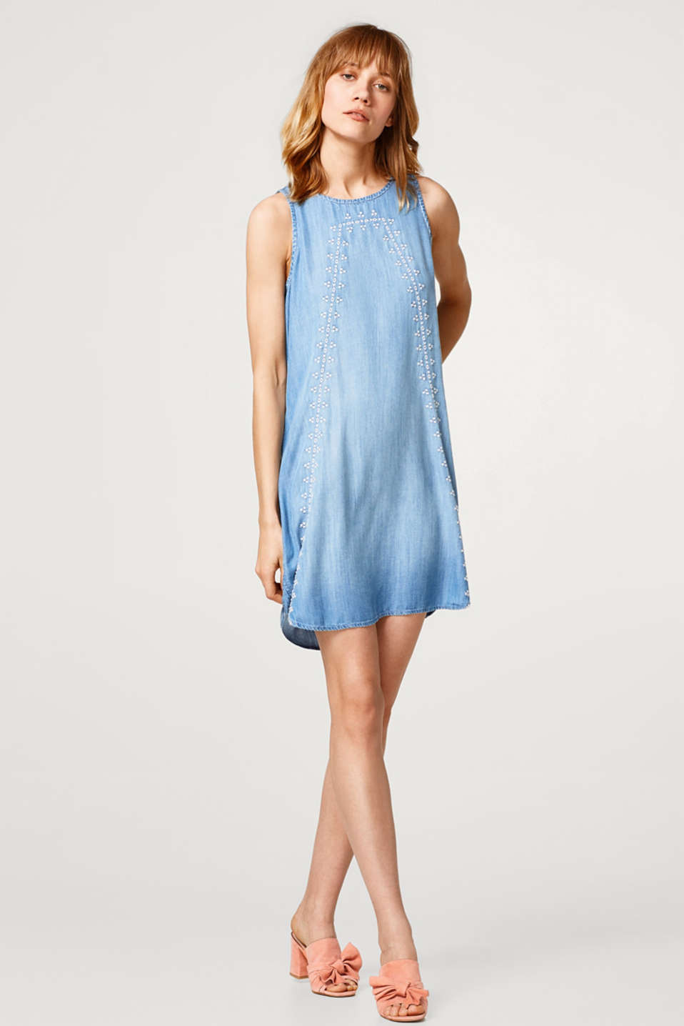 Embroidered lyocell dress in a denim look