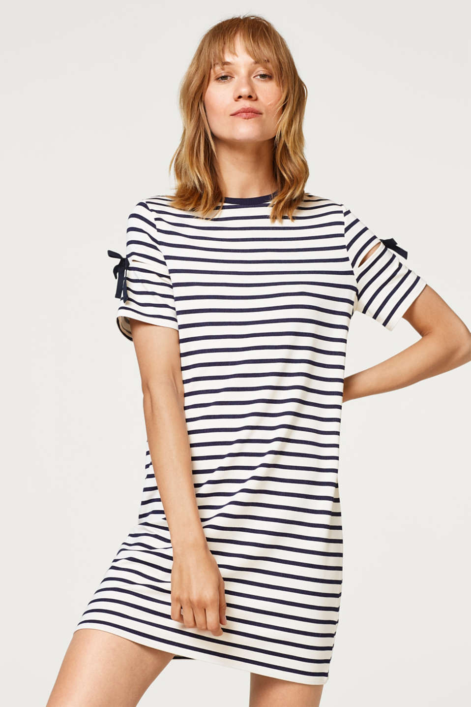 edc - Soft sweatshirt dress with stripes and cut-out sleeves