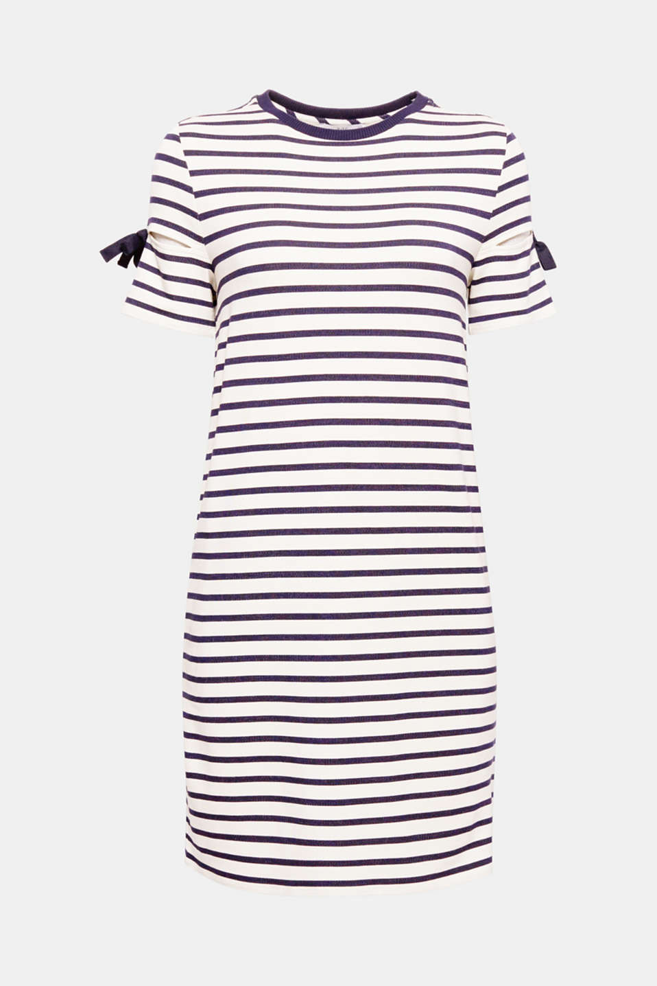 The sleeves decorated with bows and cut-outs give this nautical stripe sweatshirt dress a new, fashionable twist.