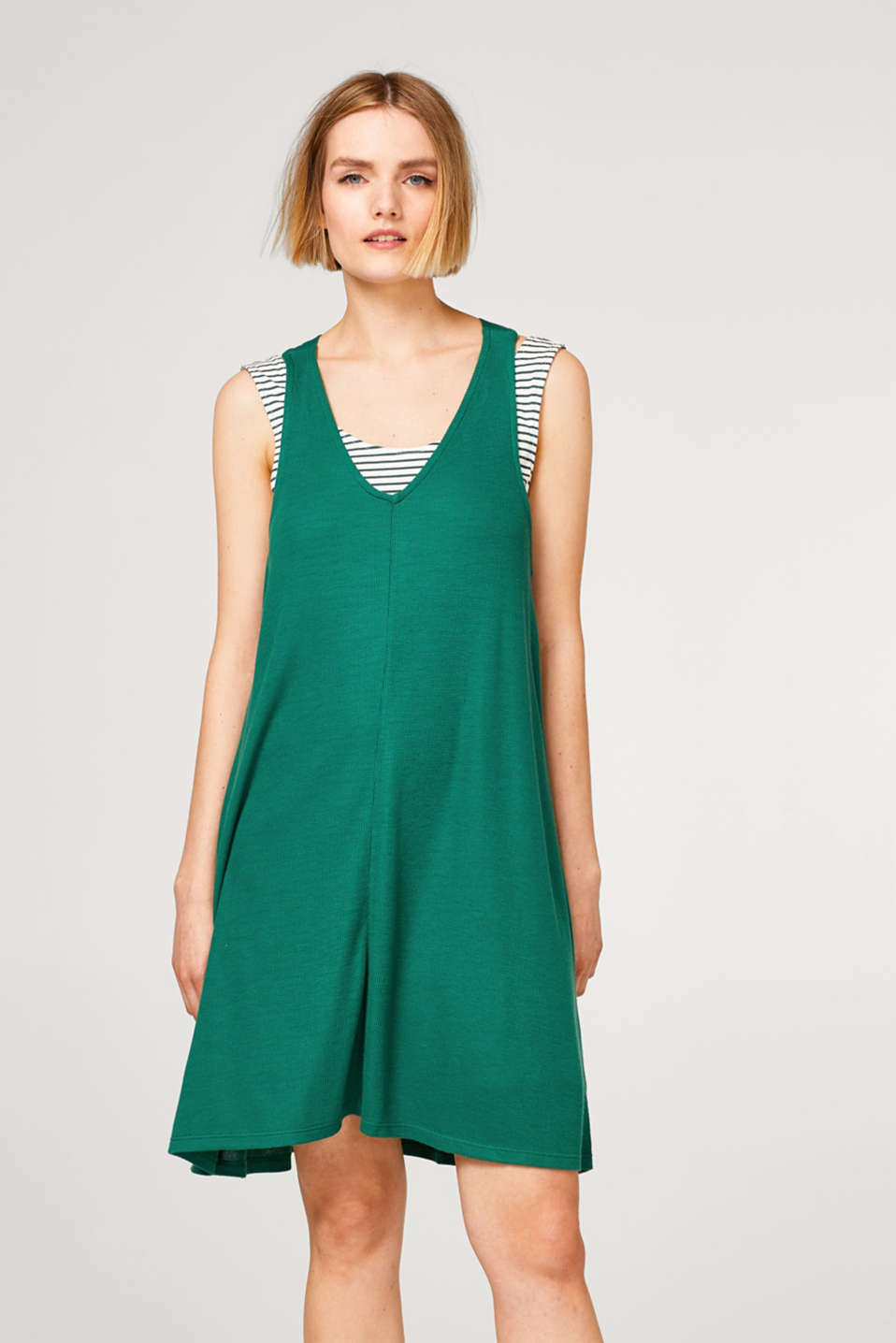 edc - 2-in-1 mock layer jersey dress