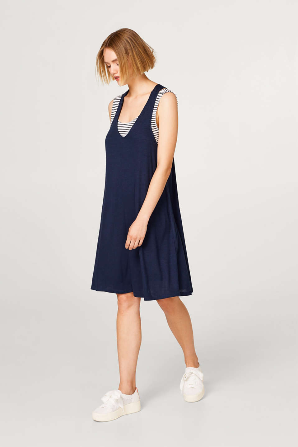 2-in-1 mock layer jersey dress