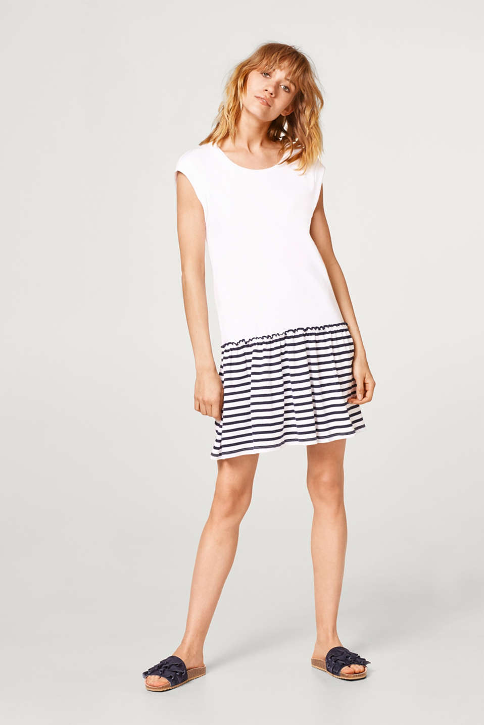 Dress with a striped dress, in 100% cotton