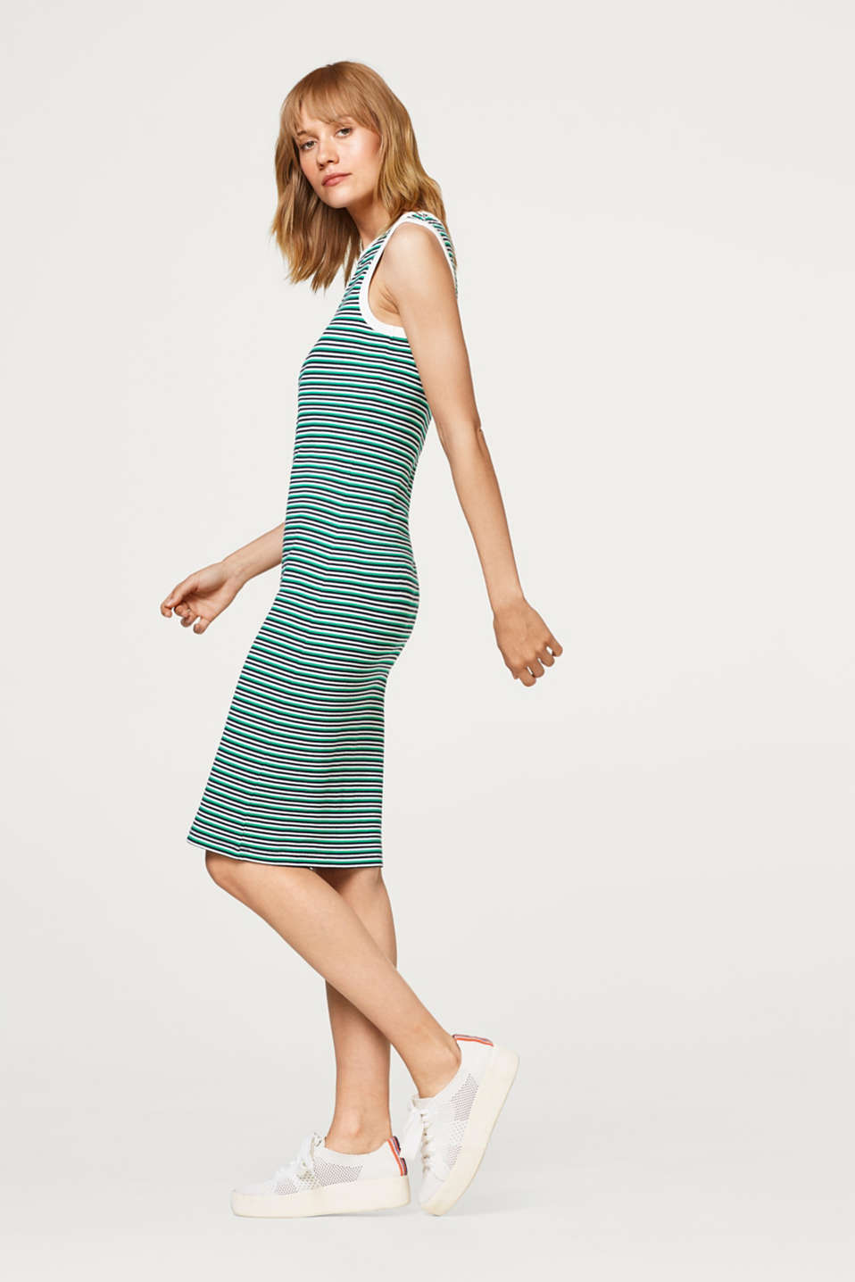 Striped dress made of ribbed jersey
