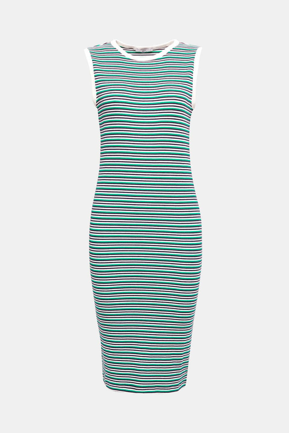 A frisson of freshness, stretchy and comfy! The fine stripe pattern and soft, ribbed jersey composed of stretch cotton give this figure-hugging dress its modern twist.