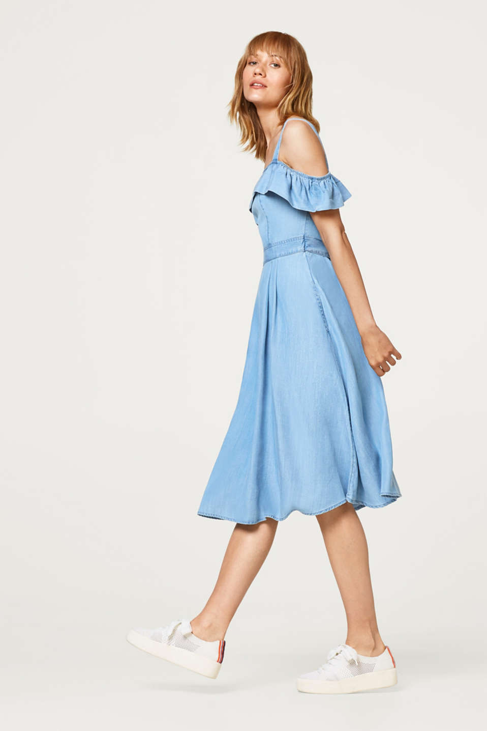 edc - Off-Shoulder-Kleid im Denim-Look