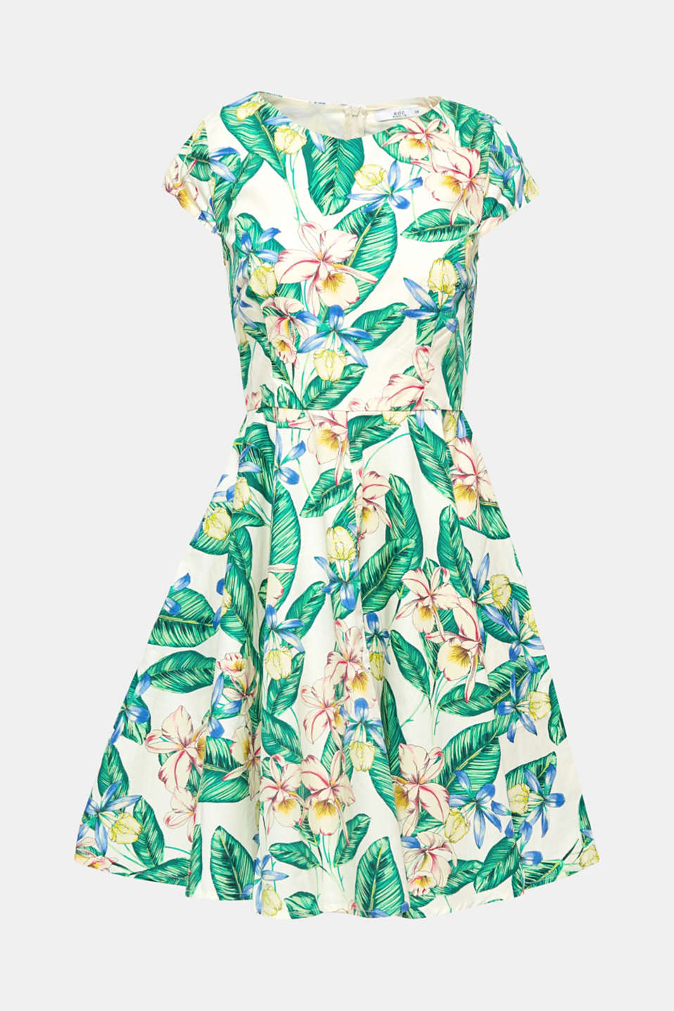 This dress owes its fashionable retro charm to its swirling silhouette and trendy print with tropical flowers.
