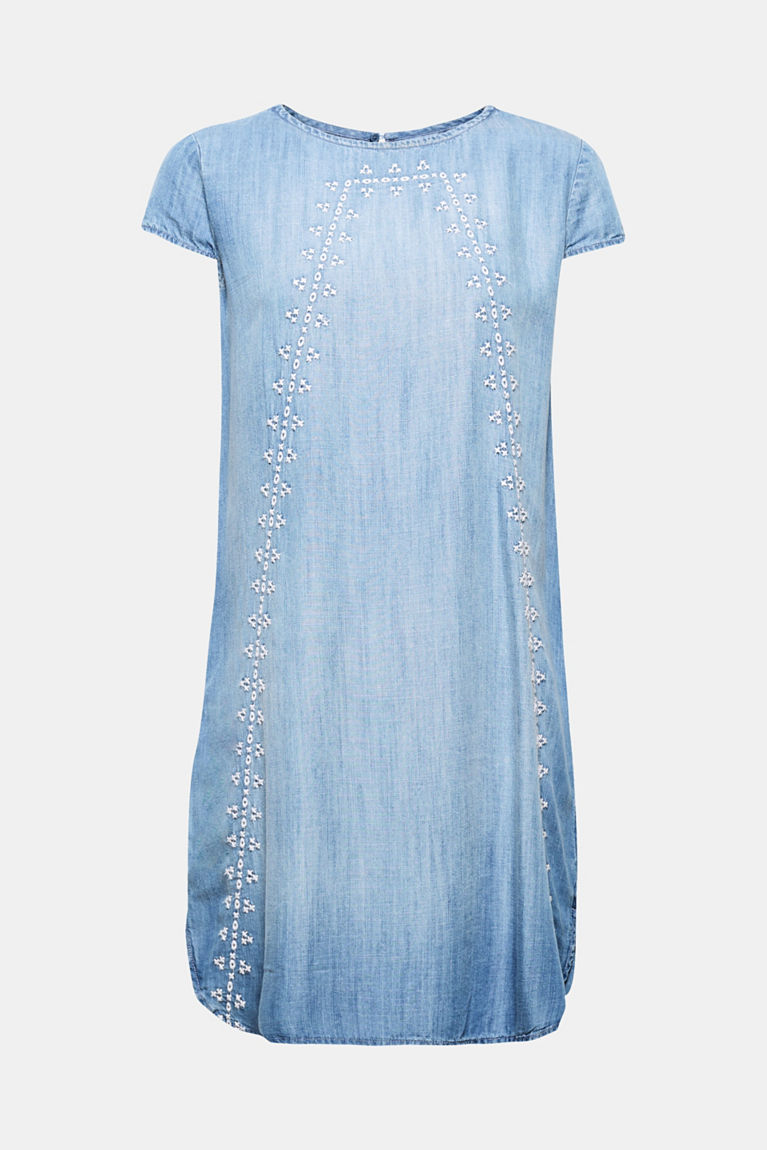 Leichtes Lyocell-Kleid im Denim-Look mit Stickerei