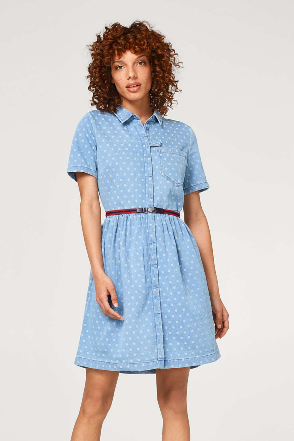 edc - Denim dress with polka dots and a belt, 100% cotton