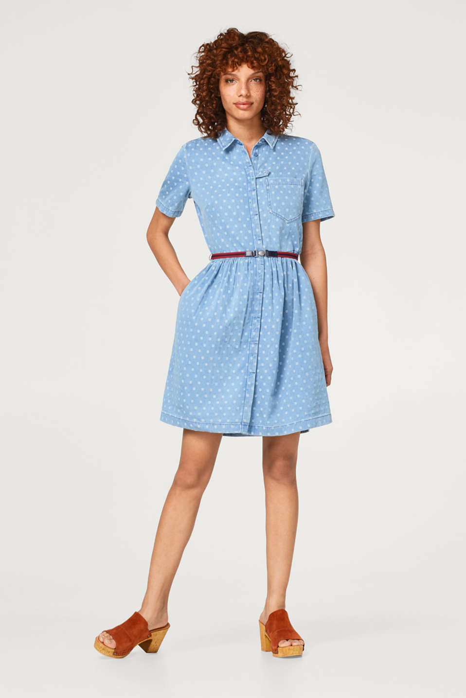 Denim dress with polka dots and a belt, 100% cotton