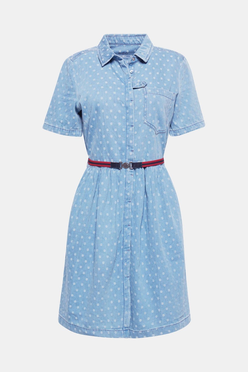 The charming, woven polka dots and flared silhouette featuring a waist-enhancing belt give this casually washed denim dress a feminine twist.