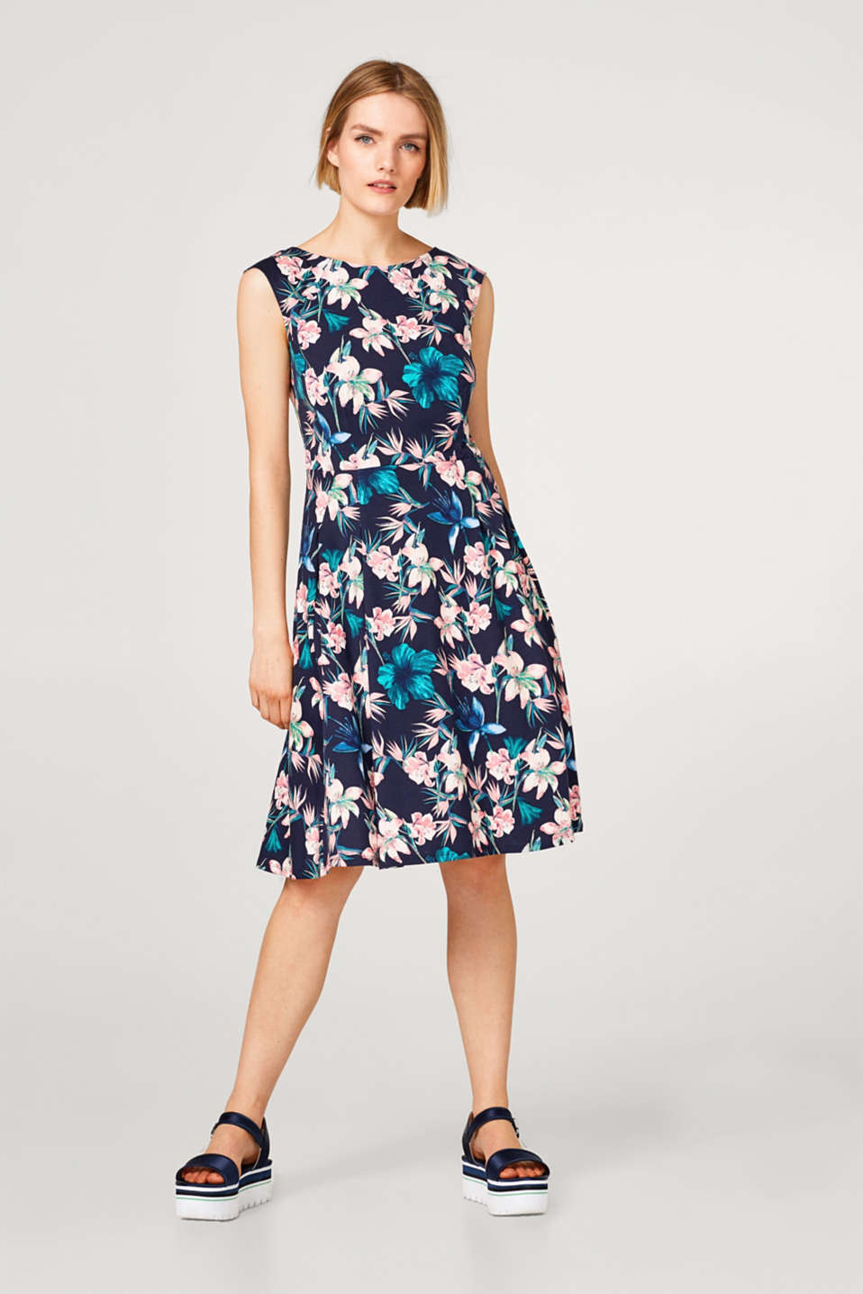 Floral print dress in cotton-jersey