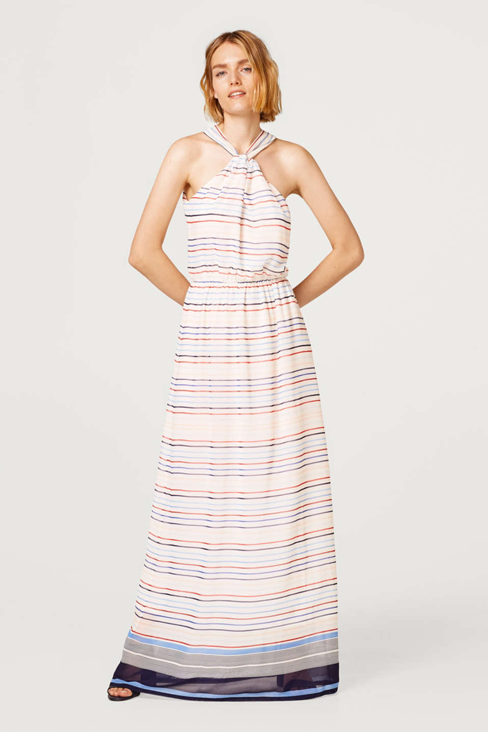 Chiffon maxi dress with a striped pattern