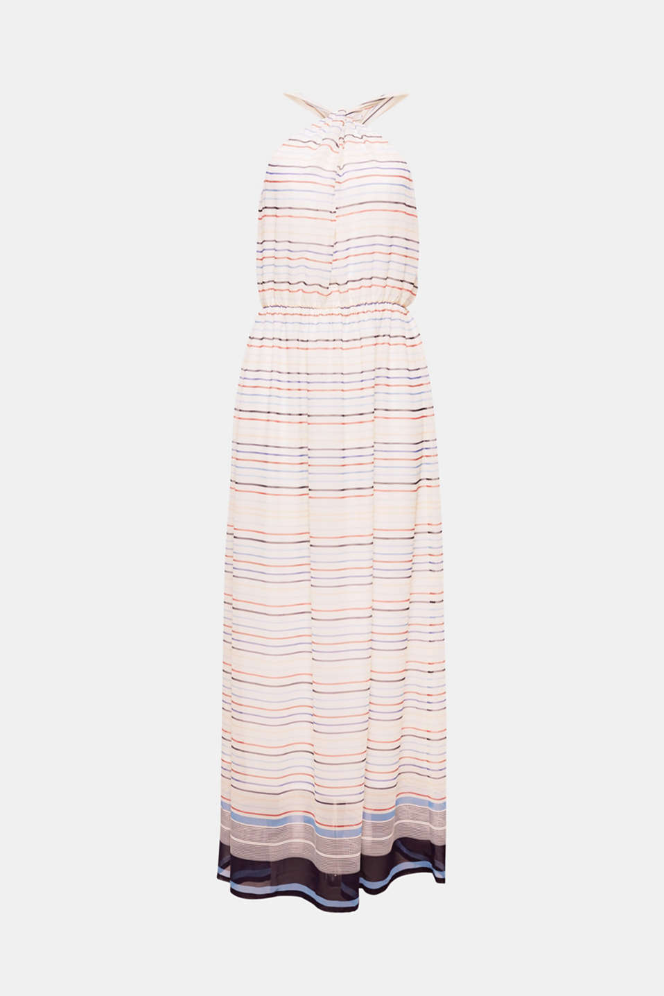 In delicate chiffon with a striped pattern and an off-the-shoulder halterneck design, this softly draped maxi dress has style and an extremely feminine flair!
