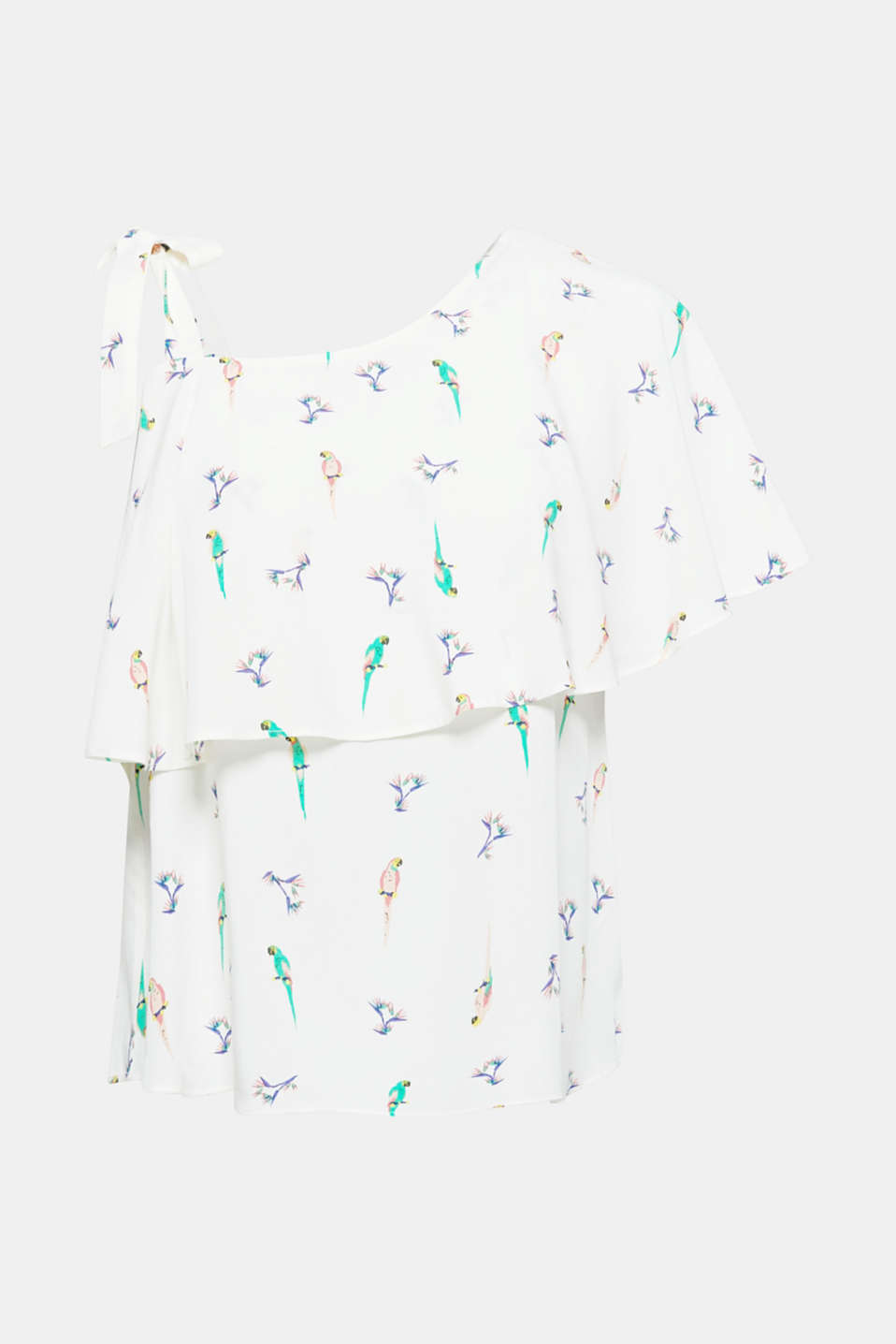 The asymmetric, one-shoulder neckline trimmed with a softly draped frill makes this dainty blouse a sensual, stylish separate. The colourful parrot print rounds off the summery design perfectly.