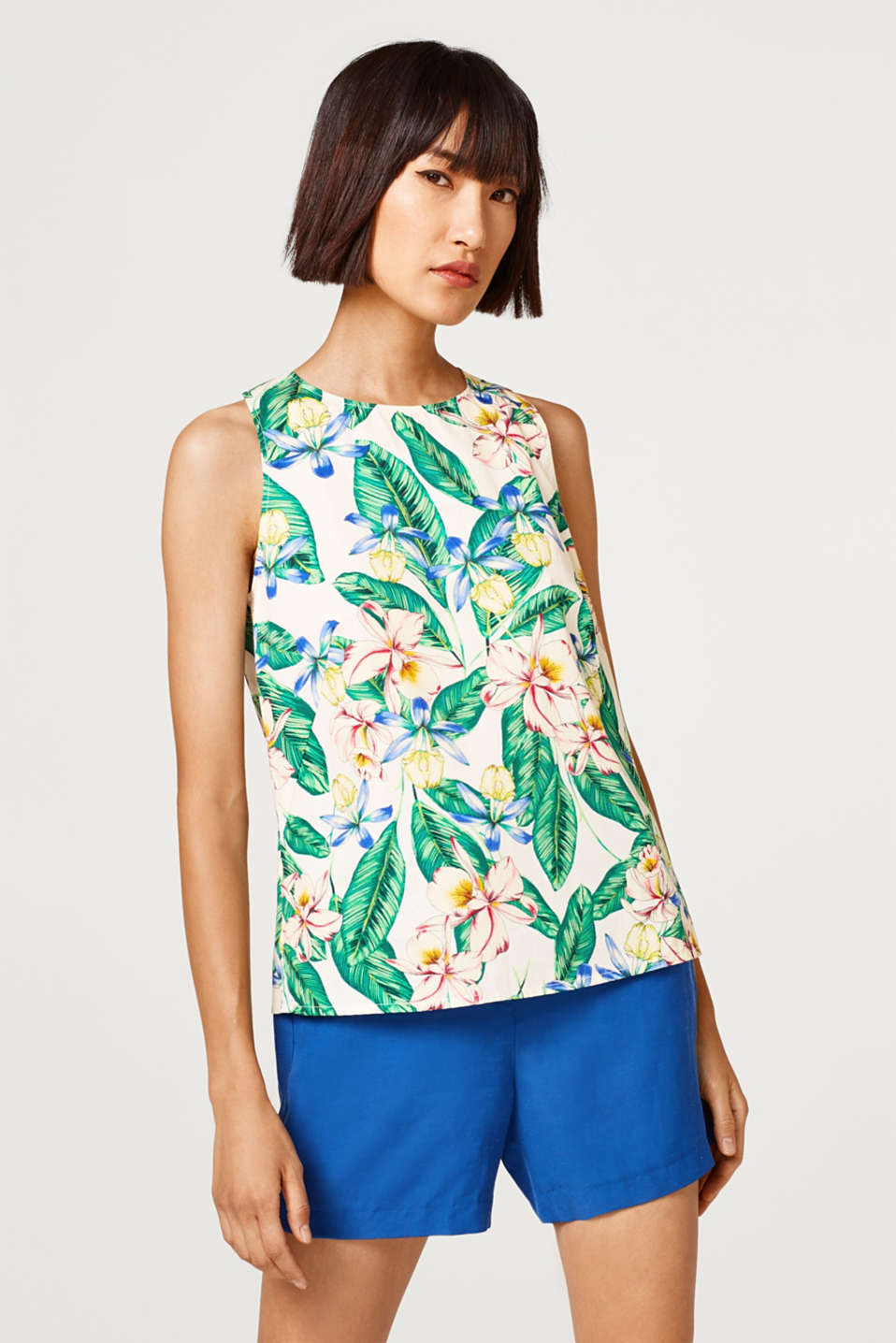 edc - Blouse top with a tropical print, 100% cotton