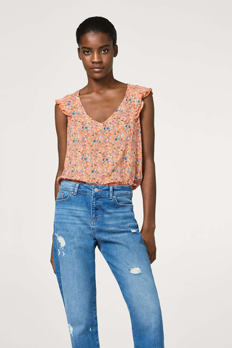 edc - Lightweight blouse top with a fine floral pattern