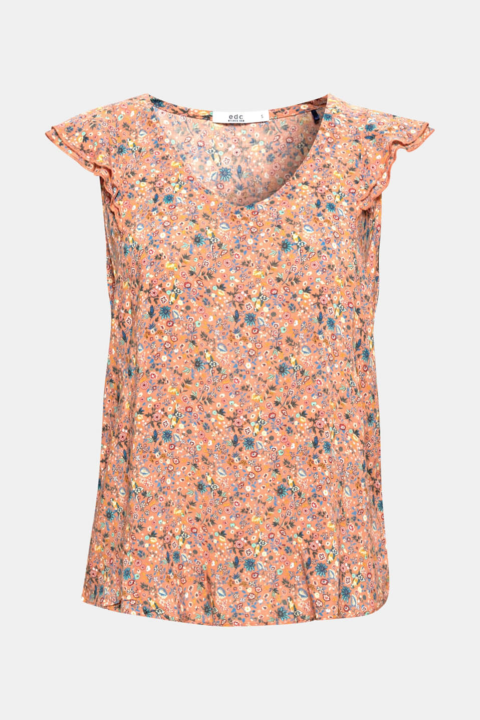 We love flowers! The fine, highly detailed floral print gives this top its fresh look.