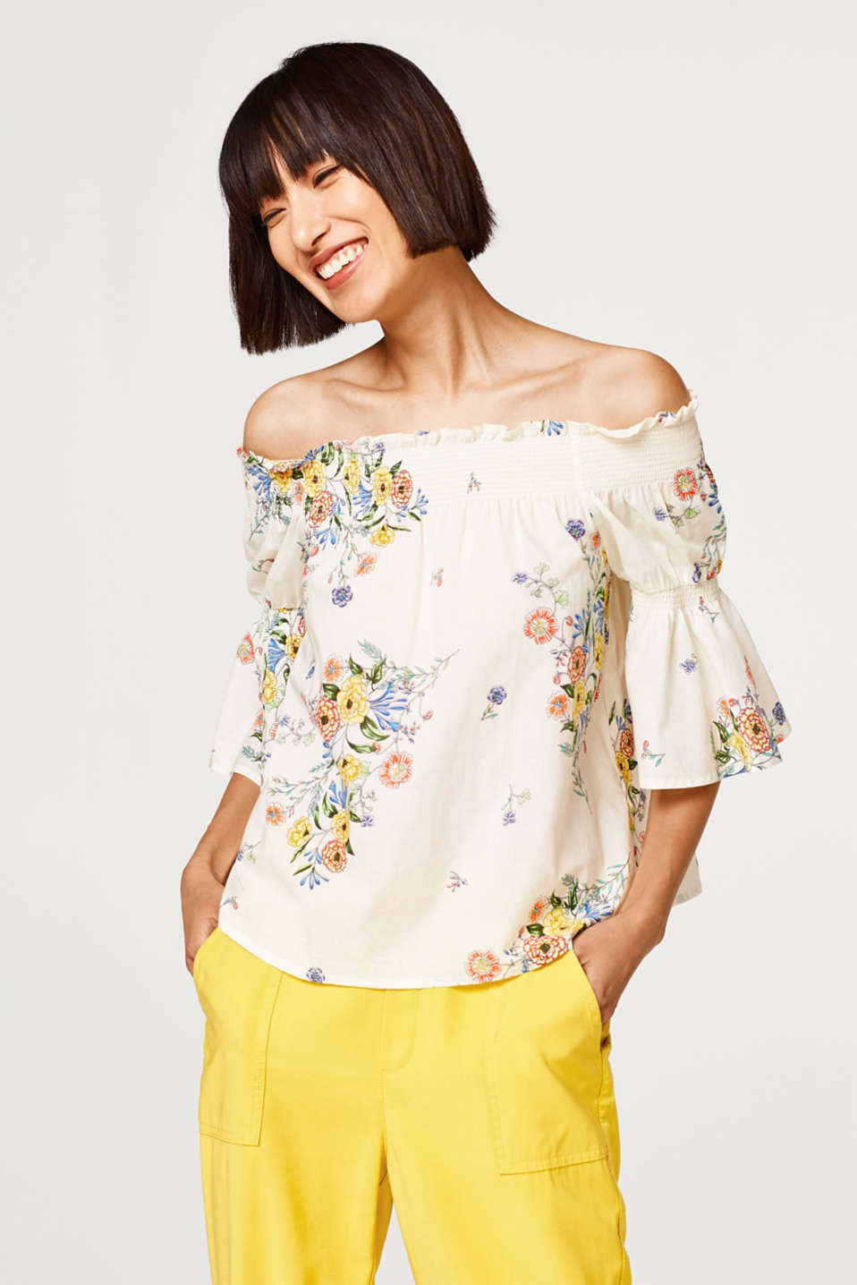 edc - Off-the-shoulder blouse top with a print, 100% cotton