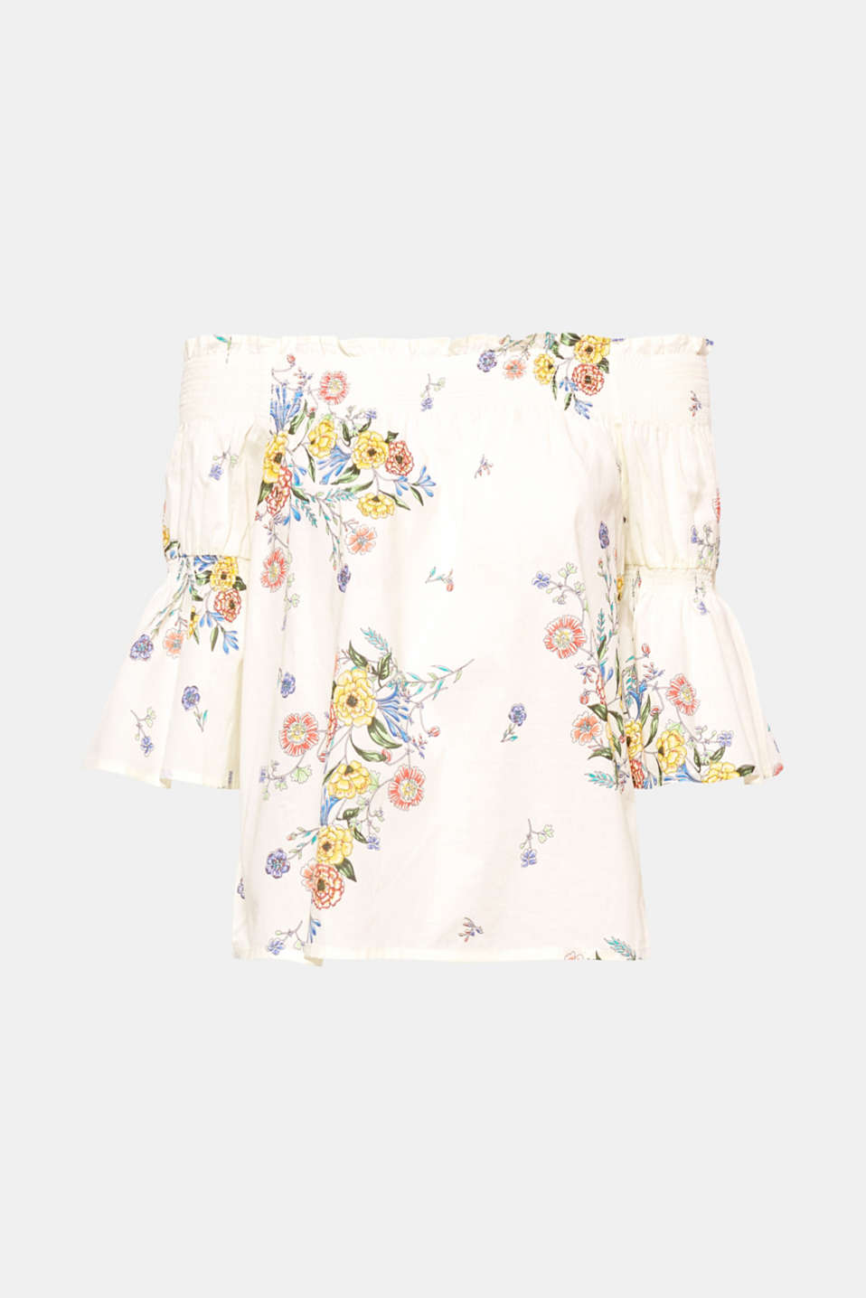 A sweet summer piece, this off-the-shoulder blouse top made of lightweight cotton features enchanting smocked effects, trumpet sleeves and colourful floral prints!