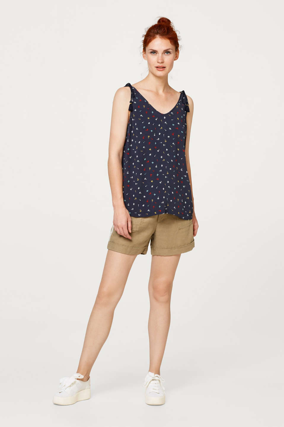 Printed crêpe top with cord drawstring details