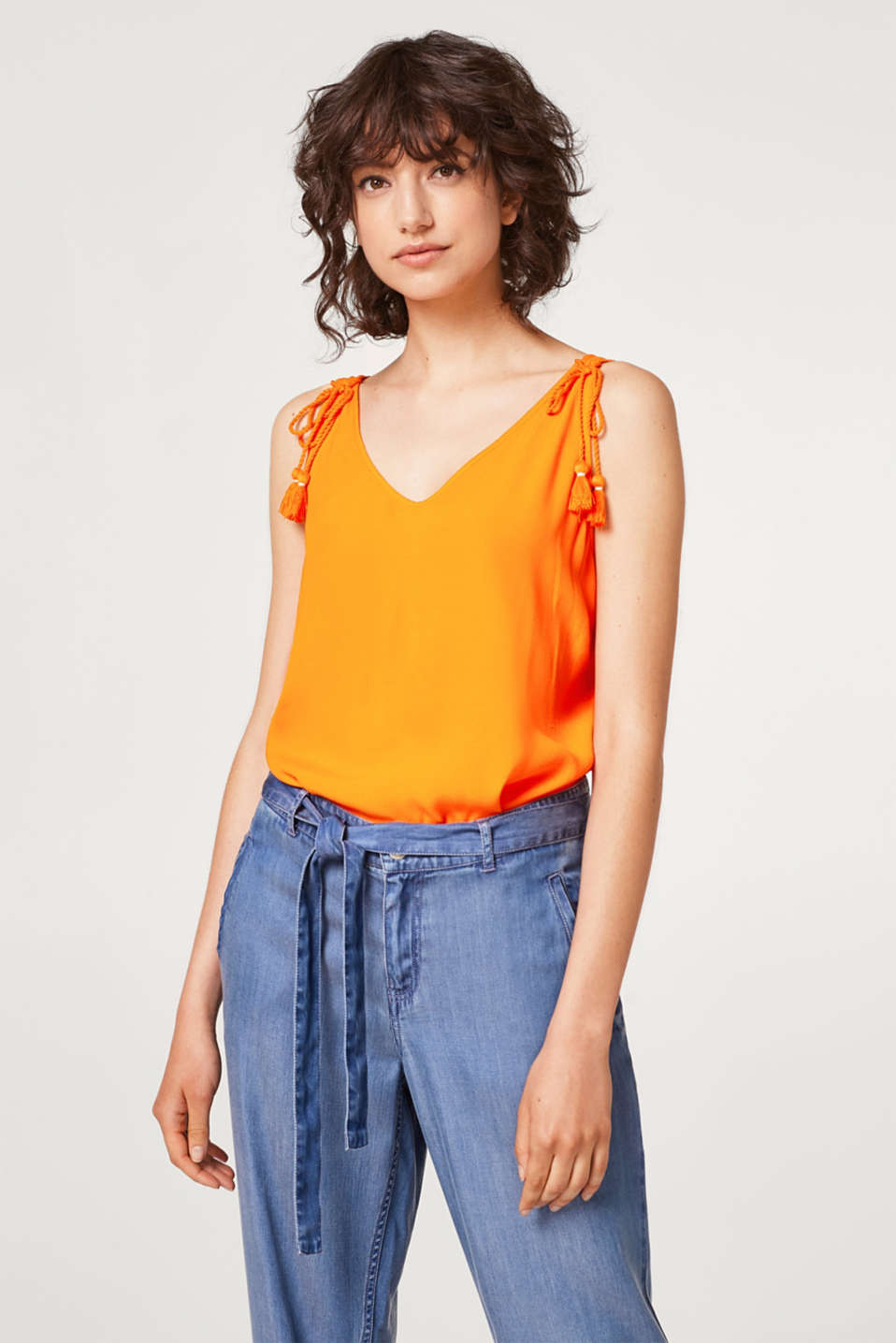 edc - Lightweight crêpe top with cord drawstring details