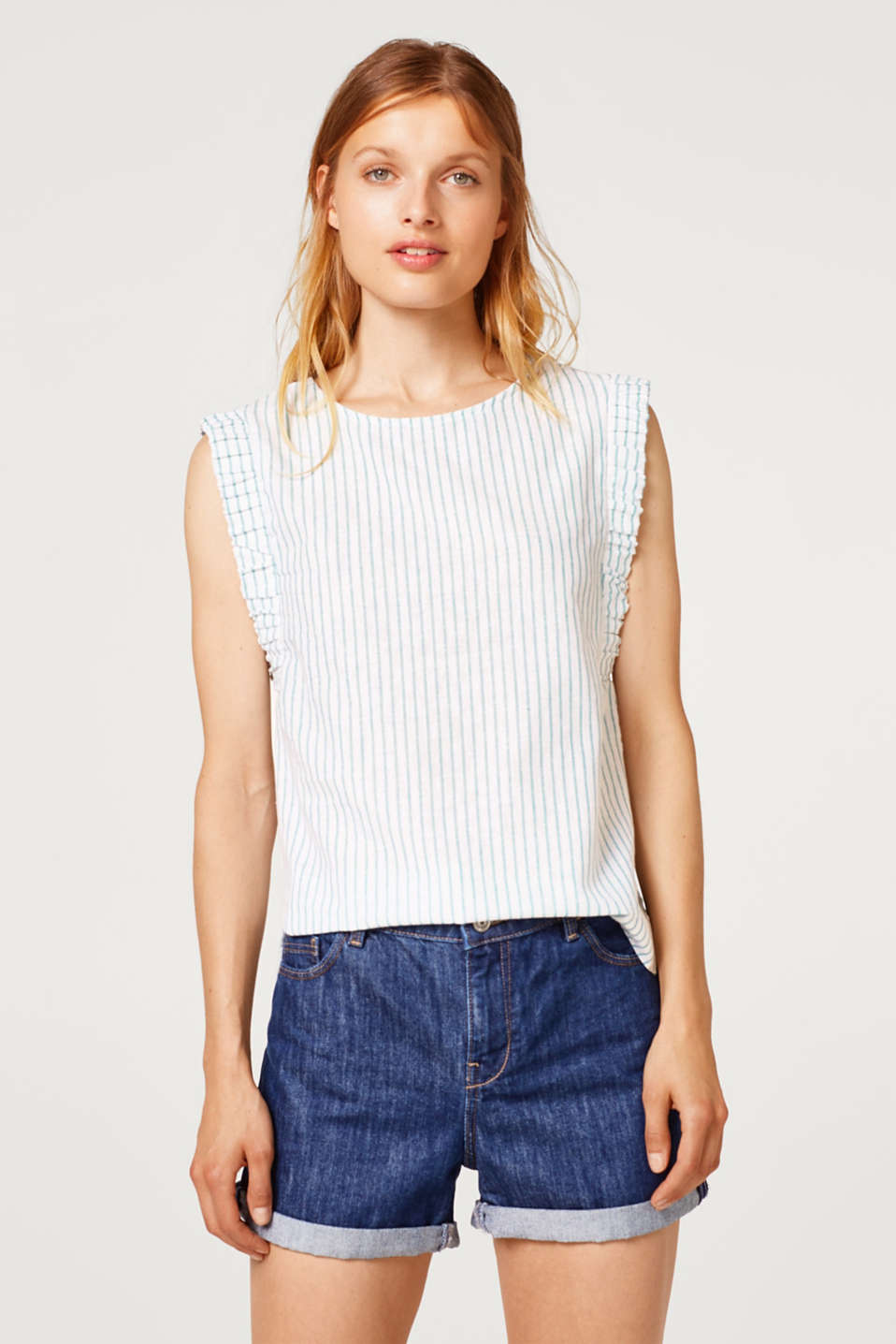 edc - Striped blouse top with linen