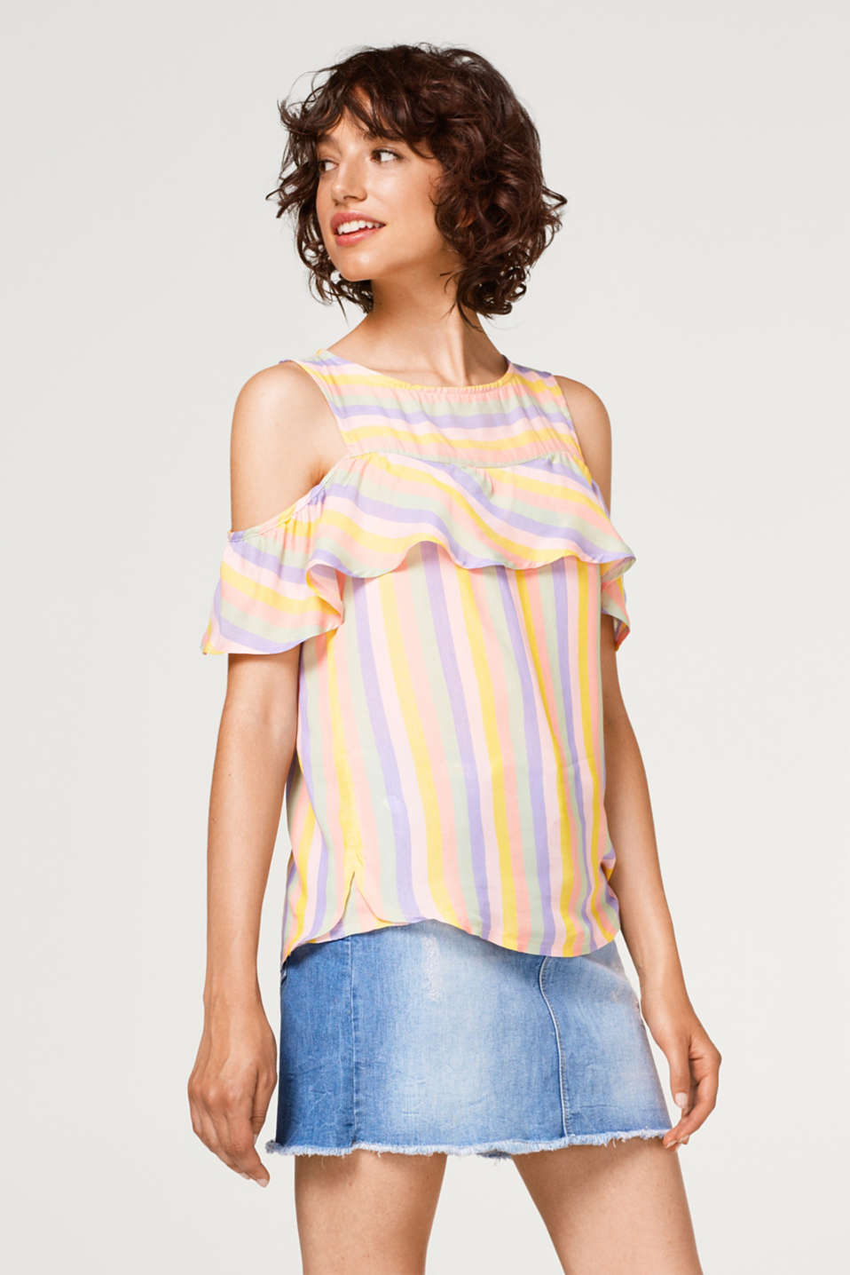 edc - Striped cold shoulder blouse with a flounce