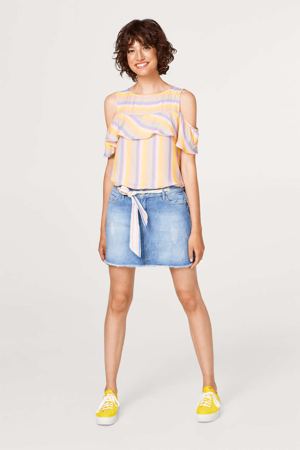 Striped cold shoulder blouse with a flounce