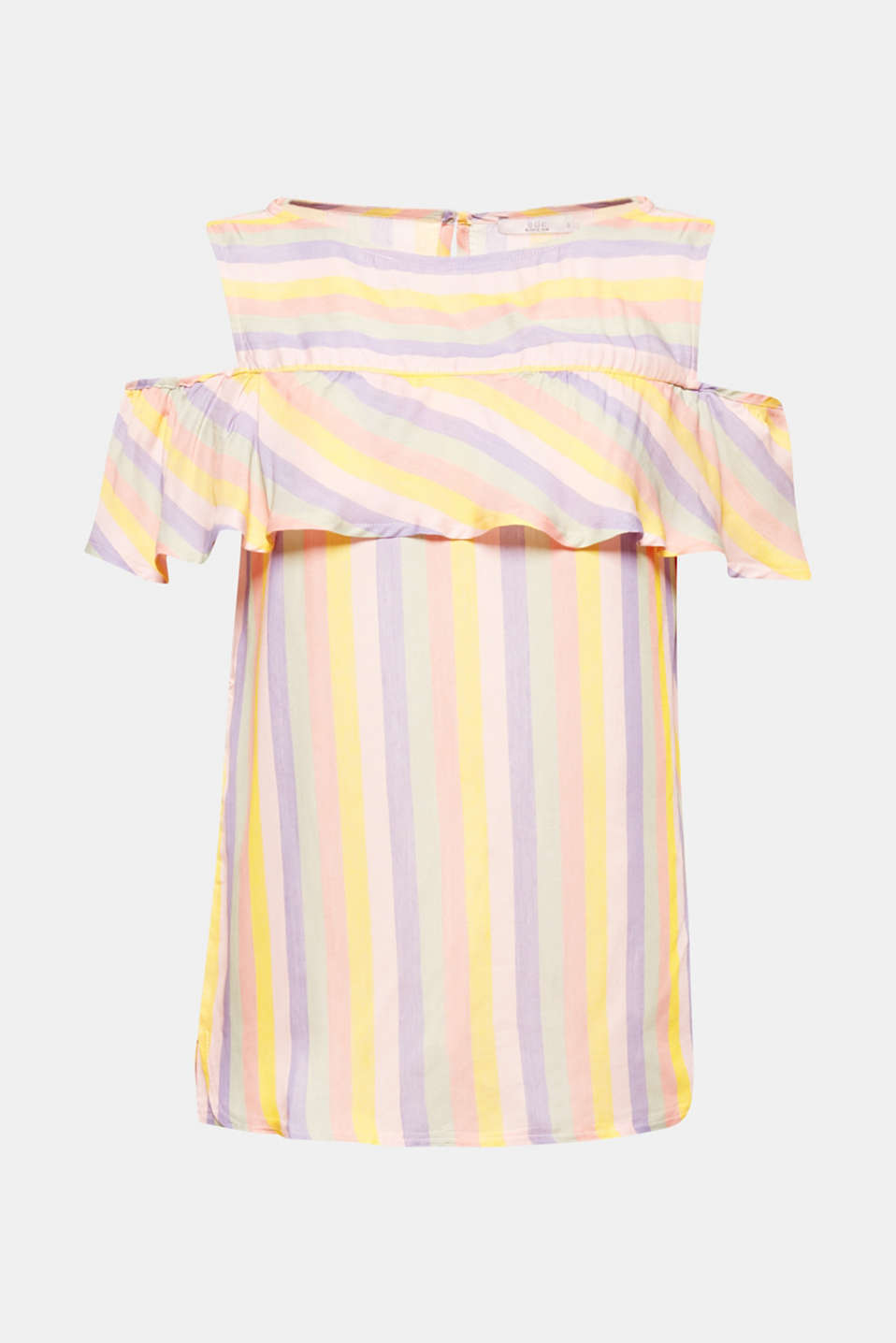 Very charming! The pretty flounce and the flowing fabric highlight the charming, fresh style of this summery, striped cold-shoulder blouse.