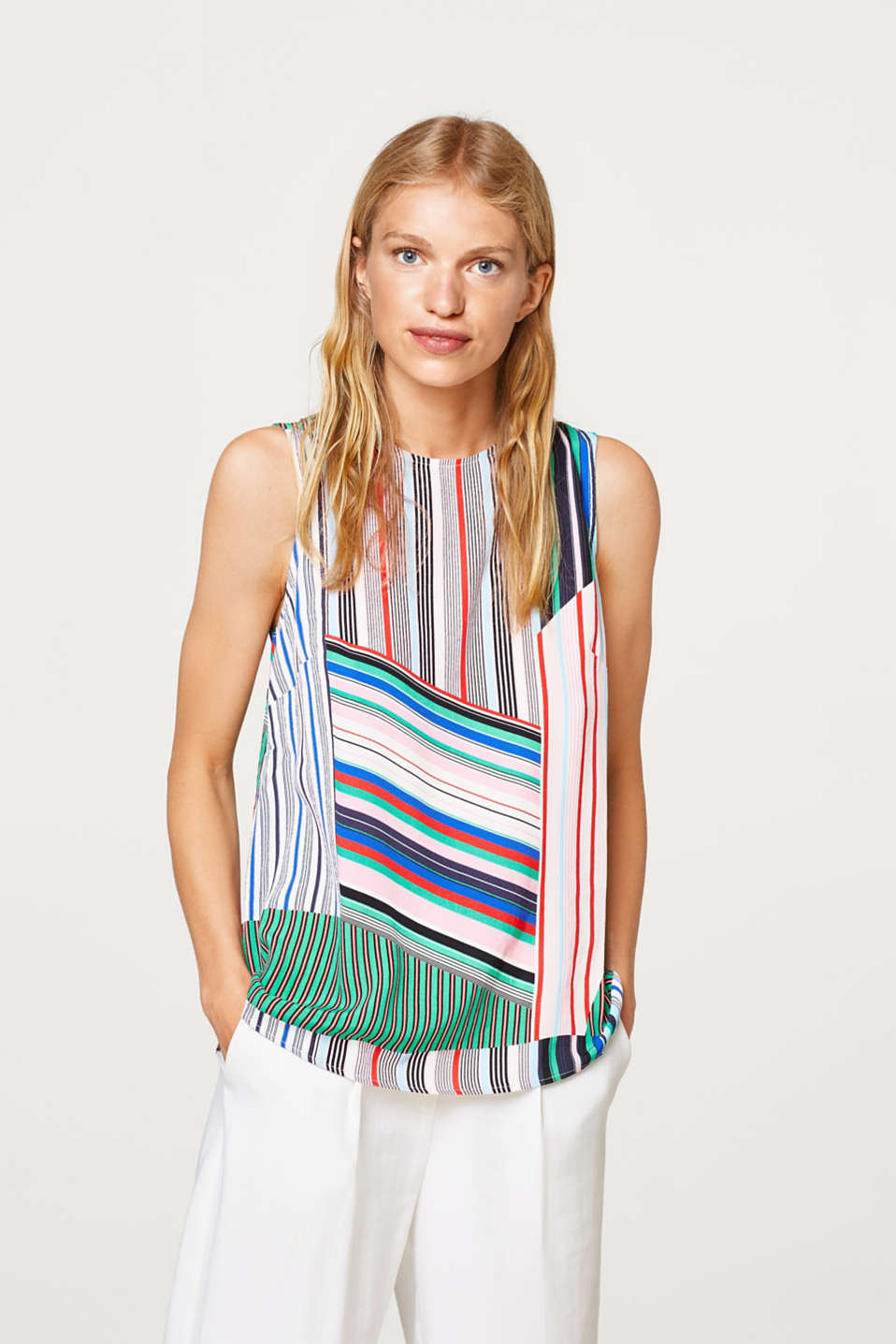 edc - Crêpe blouse top with a mix of stripes