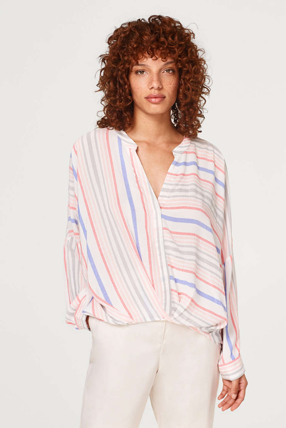 edc - Draped blouse with stripes and turn-up sleeves