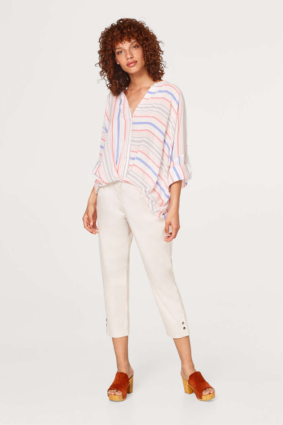 Draped blouse with stripes and turn-up sleeves