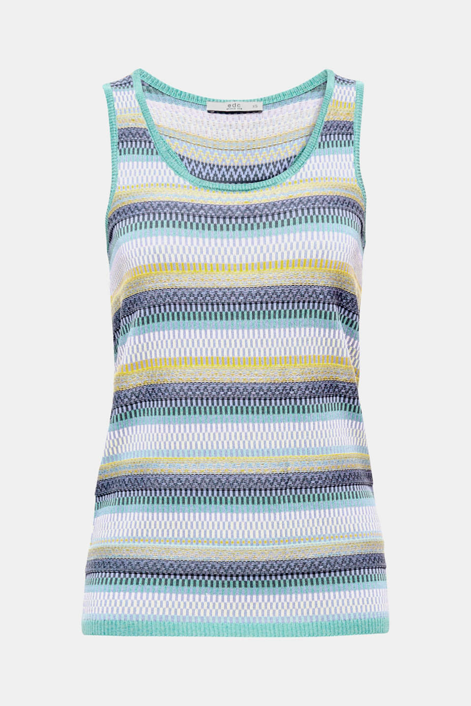 The fine knit and textured stripe pattern make this top a summer favourite.
